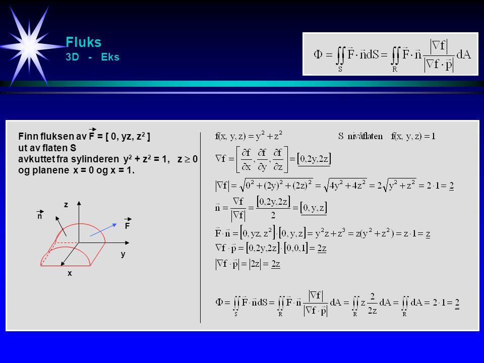 Fluks 3D - Eks Finn fluksen av F = [ 0, yz, z2 ] ut av flaten S